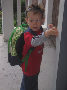 BigE with his backpack heading to school