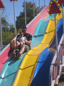 BigE and Dada going down the slide