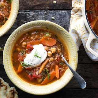 Chickpea And Quinoa Stew With Toasted Naan