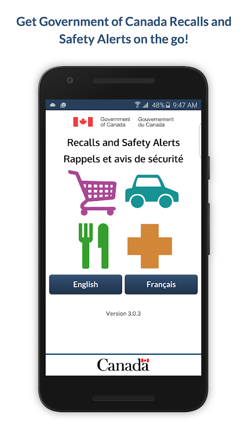 Recalls and Safety Alerts- screenshot