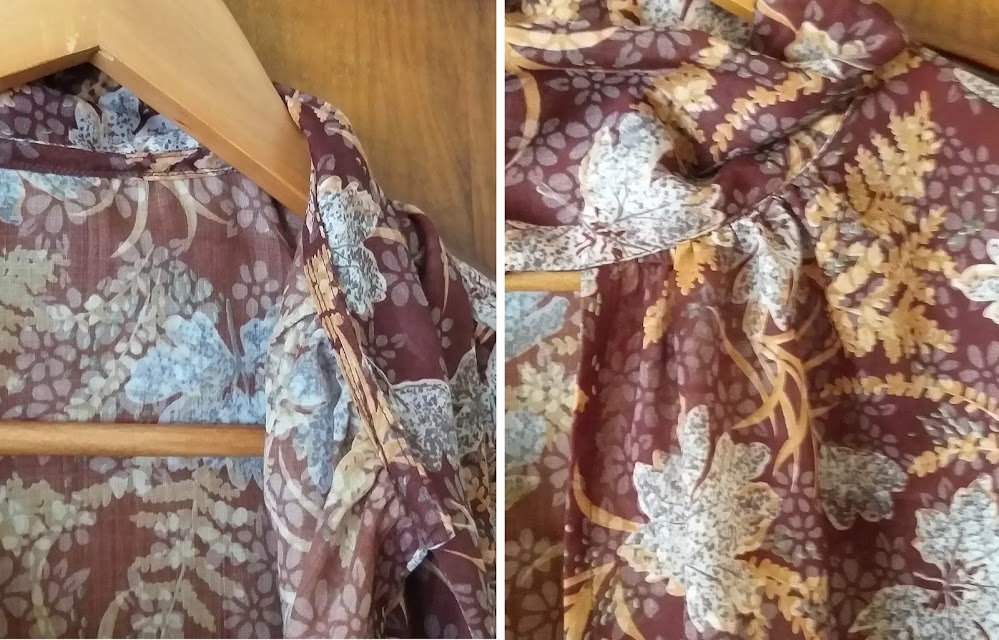 Two images of the inner and outer of a handmade blouse neckline. The blouse tie is attached to the bias-faced neckline by topstitching.