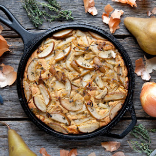 Skillet Cornbread with Caramelized Onions, Pears & Thyme (Vegan & Gluten-Free)