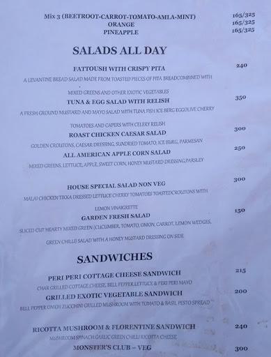 Food Menu 5 of Monster's Cafe, DLF Phase 4, Gurgaon