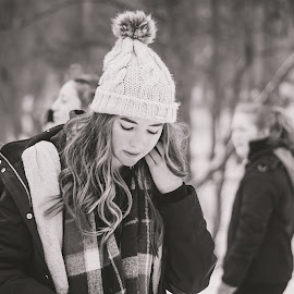 Snow day by Vix Paine - Black & White Portraits & People ( field, friends, sno, eyelashes, black and white, beautiful, lanscape, snow, depth of field, scarf, woods, hair, hat )