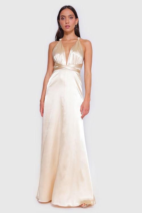 Satin Ryne Muti-way Wrap Dress
