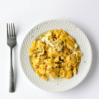 Soft and Fluffy Cream Cheese Scrambled Eggs.