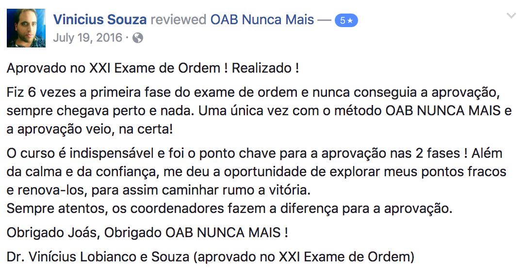 Aprovado OAB Nunca Mais - Vinicius Souza