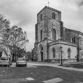 thames street Poole UK by Roy Hornyak - City,  Street & Park  Cemeteries ( houses, tree, church, graves, grass, cars, graveyard,  )