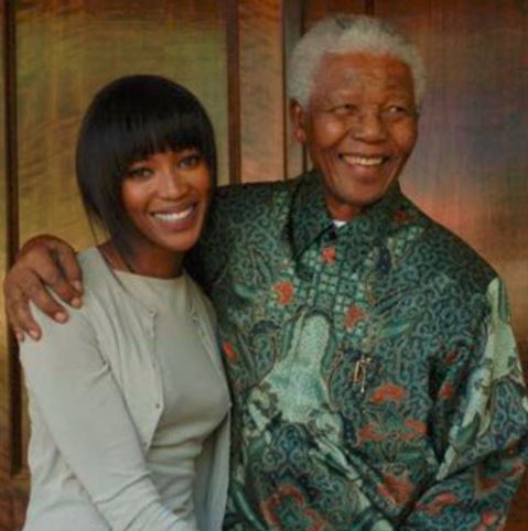 Naomi Campbell posted a throwback picture of herself and former SA president Nelson Mandela