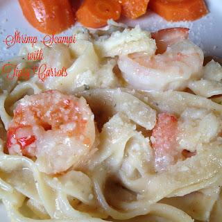 Shrimp Scampi with Lemon-pepper Fettuccine and Tipsy Carrot Coins