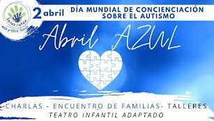 Cartel ABRIL AZUL actividades de InterActúa en el Día Mundial Concienciación sobre el Autismo.