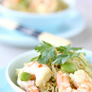 Curry Rice Vermicelli with Shrimp & Edamame.