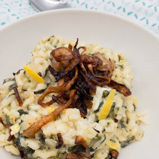 Creamy Spinach Risotto with Fried Shallots Recipe