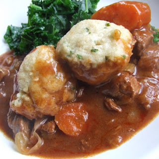 Beef Casserole with Stilton and Herb Dumplings.