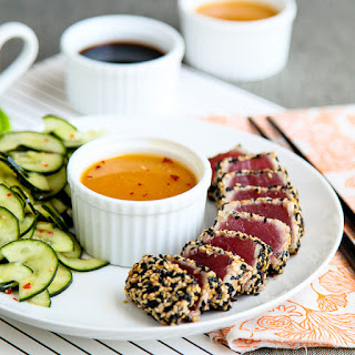 Seared sesame crusted tuna with orange ginger soy sauce (Adapted from Martha Stewart).