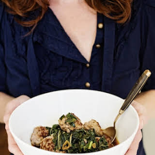 Asian Pork Meatballs with Braised Winter Greens.