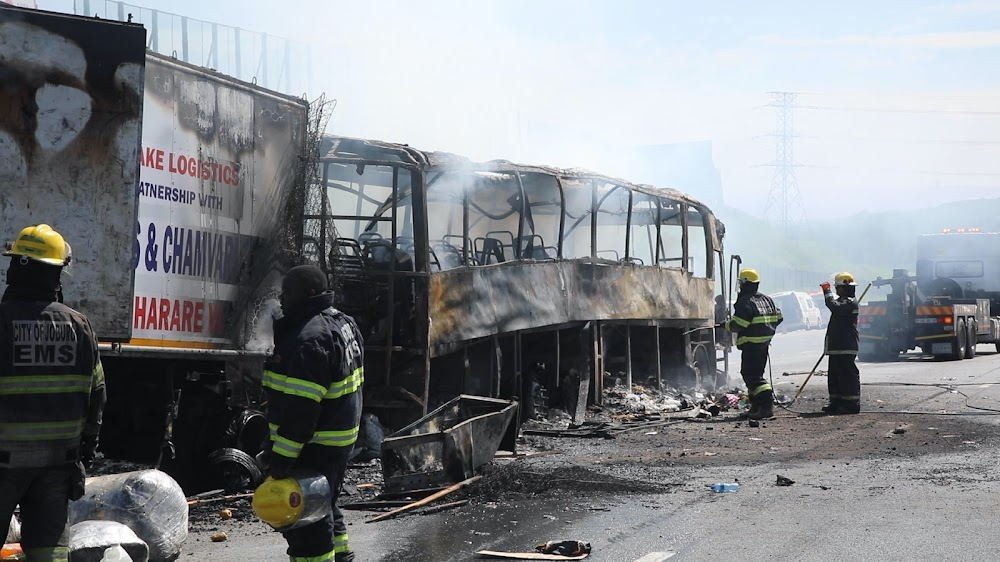 WATCH | Christmas sorrow for passengers stranded by N1 bus fire - TimesLIVE
