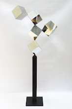 Photo: 30 REFLECTIONS - 66H X 28W X 12D Polished Stainless Steel, Painted Mild Steel, Front View