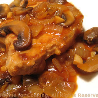 Pork Chops with Mushroom Pan Sauce.
