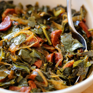 Collard Greens with Chorizo and Onions.