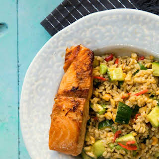 Teriyaki Salmon And Brown Rice Salad.