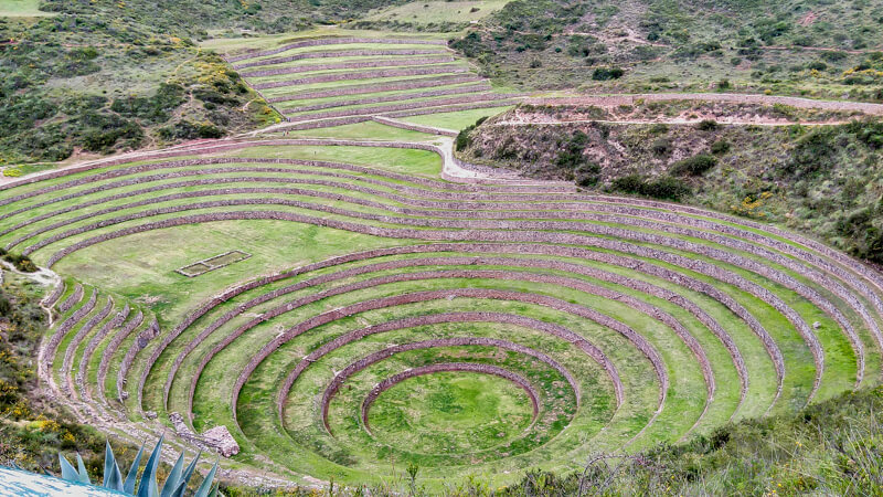 beautiful ruins of Moray archaeological site northwest of Cuzco near the west village of Maras peru south america