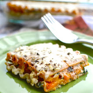 Autumn Lasagna with Butternut Squash and Spinach.