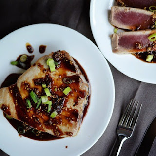 Pan Seared Tuna Steaks with Soy Glaze.