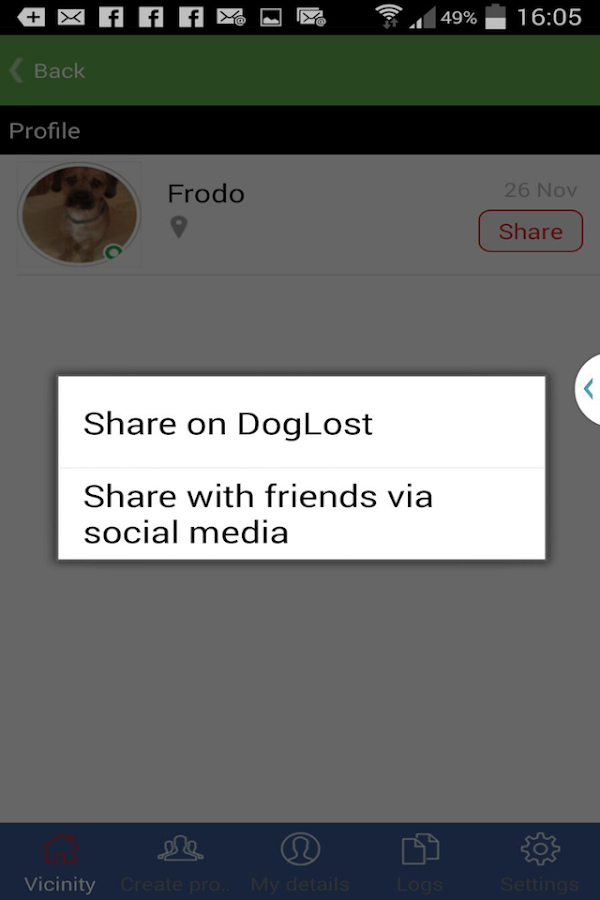 Doglost - Reuniting dogs- screenshot