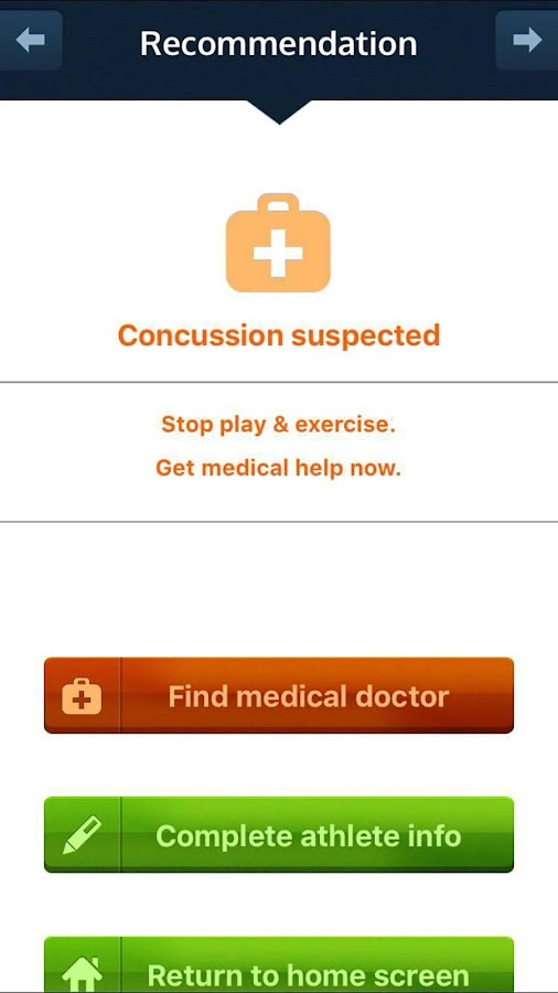 FirstResponder™ Concussion App- screenshot