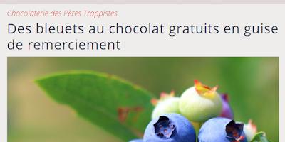 Des bleuets au chocolat gratuits en guise de remerciement
