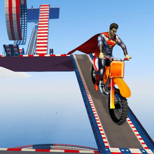 SuperHero Mega Ramp Stunt Bike Impossible Tracks