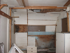 Photo: To the left is where the scotty potty room once was, the area that is unpainted was where the original water tank would have been mounted above the toilet.