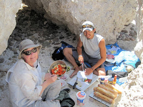 Photo: Mary-Carter and Axel work prepare a lunch. We ate well.