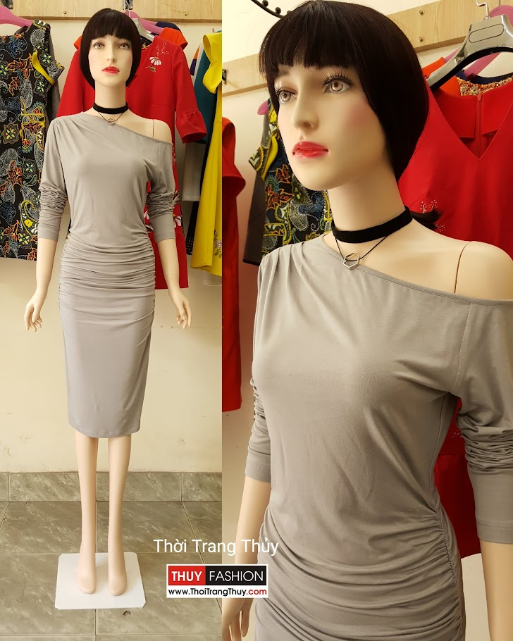 Váy dự tiệc thiết kế lệch vai và nhún eo V493 tại Hải Phòng