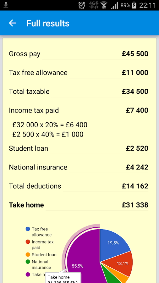 UK Income Tax Calculator 2017/18 - Android Apps on Google Play