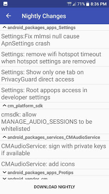 Cyanogenmod Changelog - screenshot