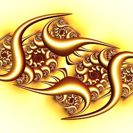 Elegantly curved by Cassy 67 - Illustration Abstract & Patterns ( 3d, metal, swirl, digital art, metallic, gold, spiral, fractal, fractals, digital )