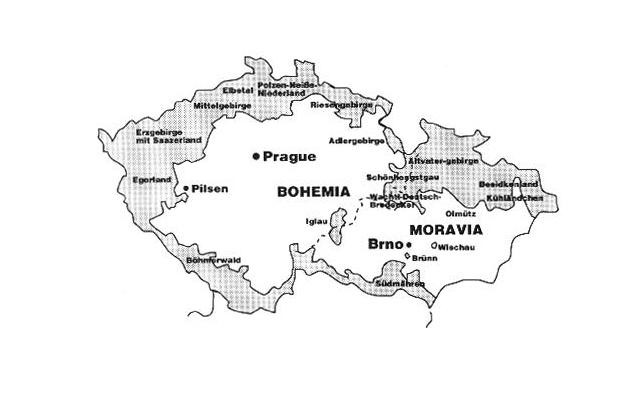 Чехословакия, 1938. Судетская область на карте выделена серым цветом
