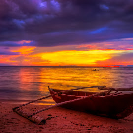 Twilight Pastel by Gilbert Sanchez - Landscapes Beaches ( pastel, sunrises, waterscape, colorful, clouds and sea, yellow, beach, sun, beaches, sunsets, cloudy, sunshine, water, clouds, orange, purple, seascapes, colors, twilight, cloudscape, sea, seascape, sunlight, waterscapes, boat, cloud formations, pastels, cyan, red, blue, color, sunset, sundown, cloud )