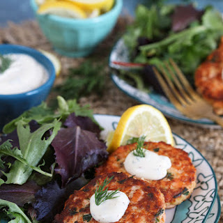 Easy Salmon Cakes with Lemon Dill Sauce.