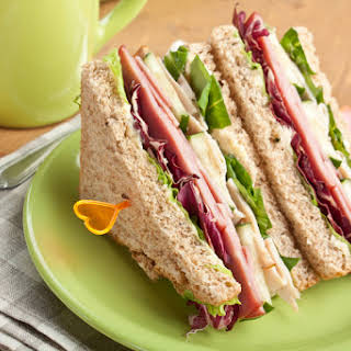 Club Sandwiches with Meat and Vegetables.