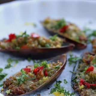 Baked Breaded Mussels with Herbs, Chili and Lemon