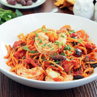 Shrimp Puttanesca with Sweet Potato Noodles