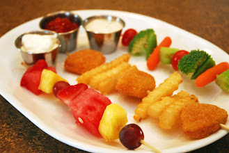 Photo: We assembled fruit kabobs, chicken nugget and fries kabobs and veggie kabobs. Each kabob has it's own dip!