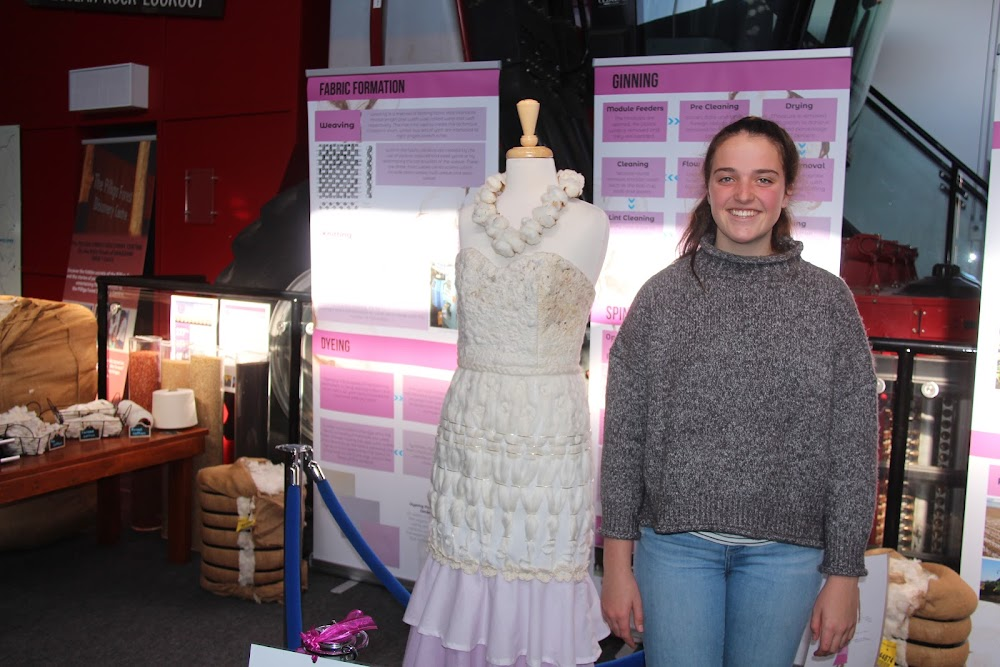 Isabel Gourley with her HSC major work now on display at the Narrabri Shire Visitor Information Centre.
