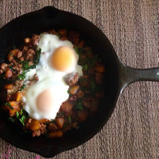 Spicy Sweet Plantain and Beef Hash.