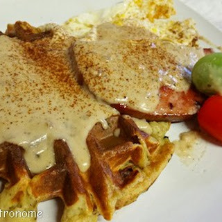 Savory Potato Waffles with Ham and Gravy