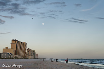 Photo: The moon rises over  Gulf Shores Beach  on Tuesday, November 8,2011.