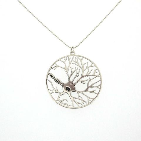 Neuron gold necklace in a circle